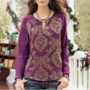 Sundance Silk purple & gold long sleeve blouse XS